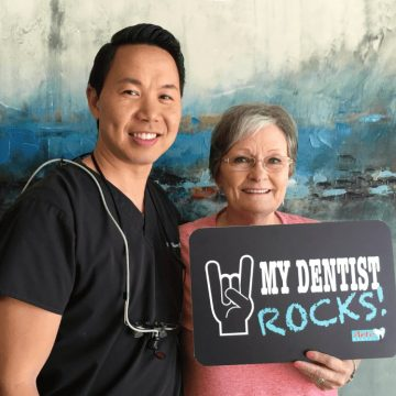 our dentist william nguyen with his patient